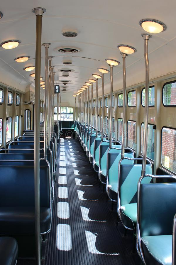 Interior of an old PCC street car in The Hague which is retired nowadays royalty free stock photo