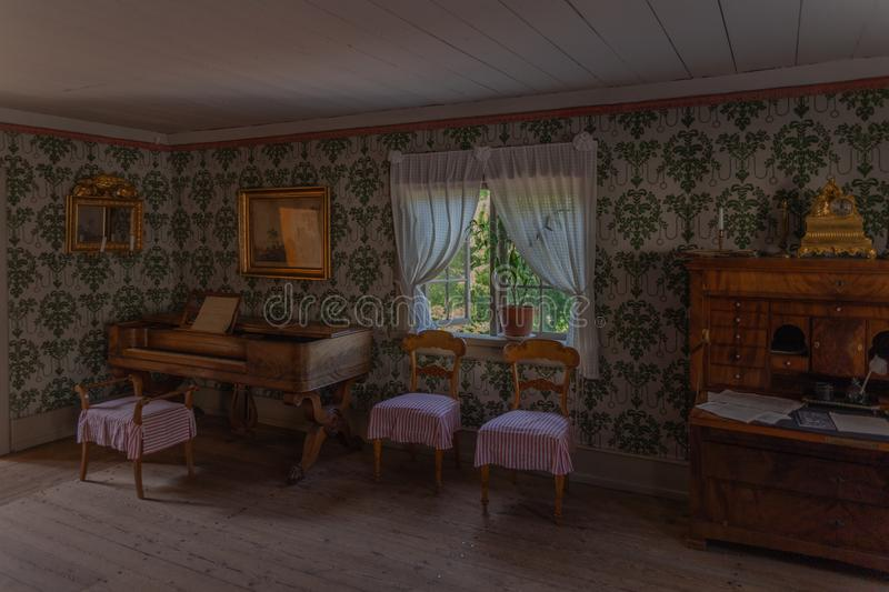 Interior of an old residential building in Skansen park on Djurgarden island. Stockholm. Sweden 08.2019 royalty free stock photos
