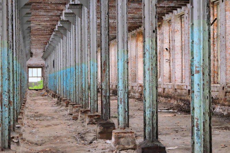 Interior of the old ruined factory. Floor royalty free stock photos