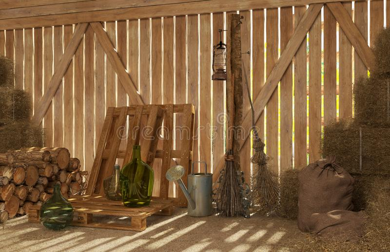 Download The Interior Of Old Rural Barn With Bales Hay Firewood Tools