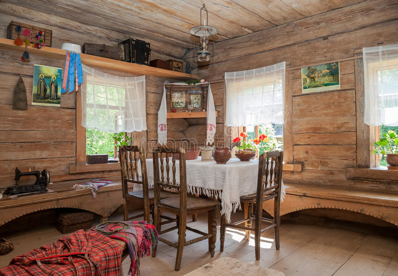 Interior of old rural wooden house royalty free stock photos