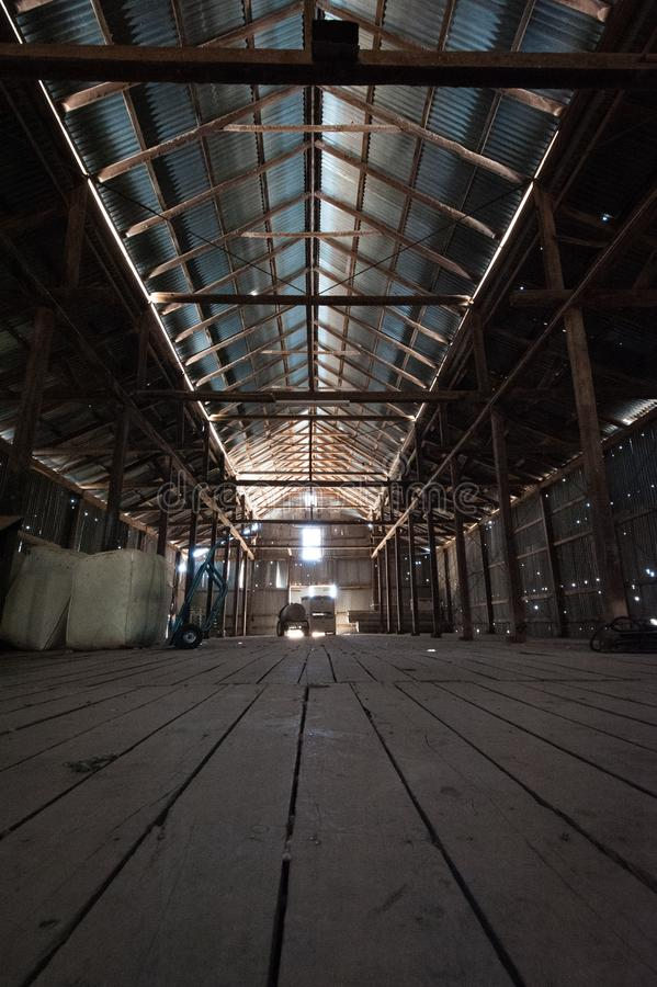 Interior of an old shearing shed on an outback property stock photography