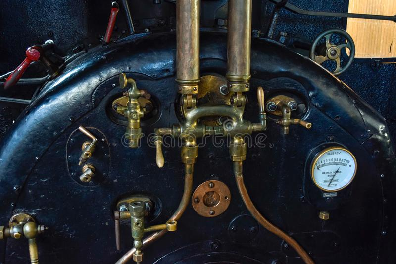 Interior of old steam locomotive.  royalty free stock images