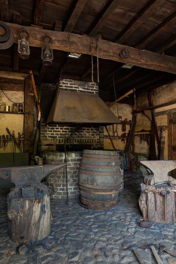 Blacksmith, forge, smithy, anvil, Bokrijk, Limburg, Limbourg, Belgium royalty free stock images