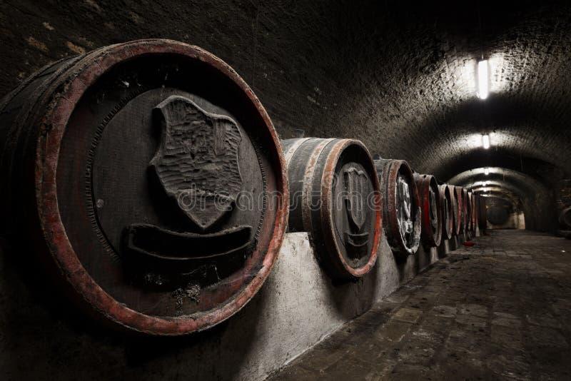 Interior of an old wine cellar, barrels stock photos