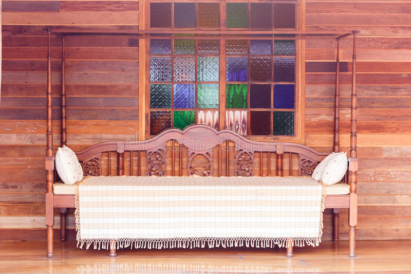 Interior old wooden bed stock photo