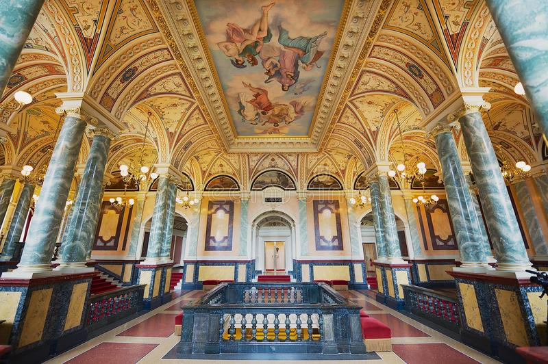 Interior of one of the halls of the Semper Opera House in Dresden, Germany. stock photo