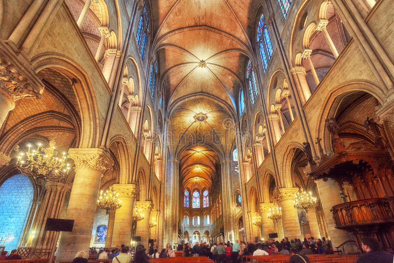 Interior of one of the oldest Cathedrals in Europe- Notre Dame d. PARIS, FRANCE - JULY 04, 2016 : Interior of one of the oldest Cathedrals in Europe- Notre Dame royalty free stock photography