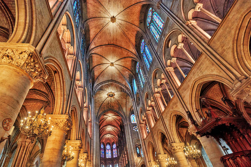 Interior of one of the oldest Cathedrals in Europe- Notre Dame. De Paris. France royalty free stock image