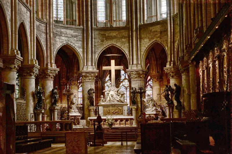 Interior Notre Dame de Paris. France. Interior of one of the oldest Cathedrals in Europe- Notre Dame de Paris. France stock image