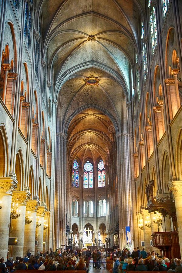 Interior of one of the oldest Cathedrals in Europe- Notre Dame de Paris. France. Interior of one of the oldest Cathedrals in Europe- Notre Dame de Paris stock image