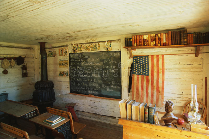 Interior of a one room school house stock photography