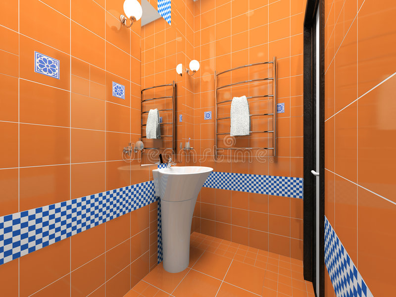 Download Interior Of The Orange Bathroom Royalty Free Stock Photography - Image: 6135437