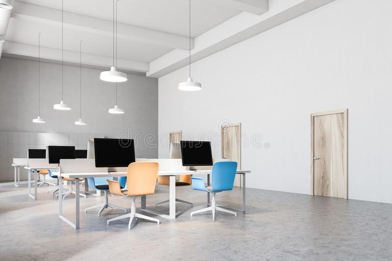 Interior of orange and blue chairs office. Orange and blue chairs open office interior with a conrete floor, rows of computer desks and blue and orange office vector illustration