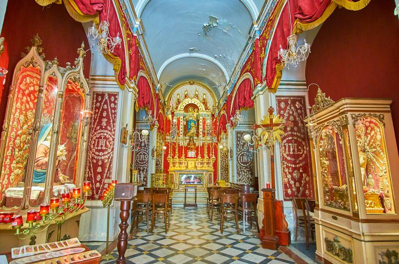 Interior of Oratory of the Fraternity of Our Lady of Mount Carmel, Valletta, Malta stock image