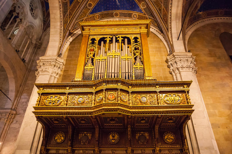 Interior, organ of Lucca Cathedral. Cattedrale royalty free stock photos