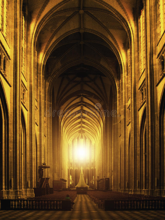 Interior of Orleans Gothic Cathedral. France stock image