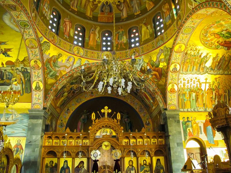 The interior of Orthodox church of Saint Savvas of the patron saint of the Greek island of Kalymnos stock photography