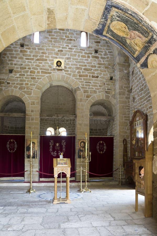Interior of Orthodox Monastery Djurdjevi Stupovi in Serbia stock image
