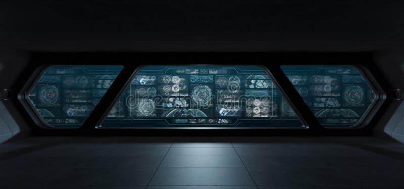 Interior oscuro de la nave espacial con las pantallas digitales 3D del panel de control con referencia a stock de ilustración