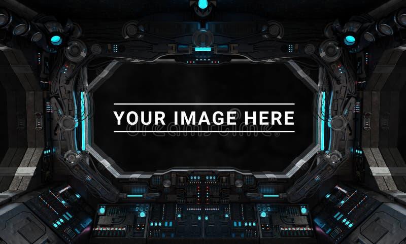 Interior oscuro de la nave espacial con la representación grande de la opinión 3D de la ventana ilustración del vector