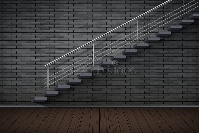 Interior oscuro de la pared de ladrillo y de la prisión o del desván ilustración del vector
