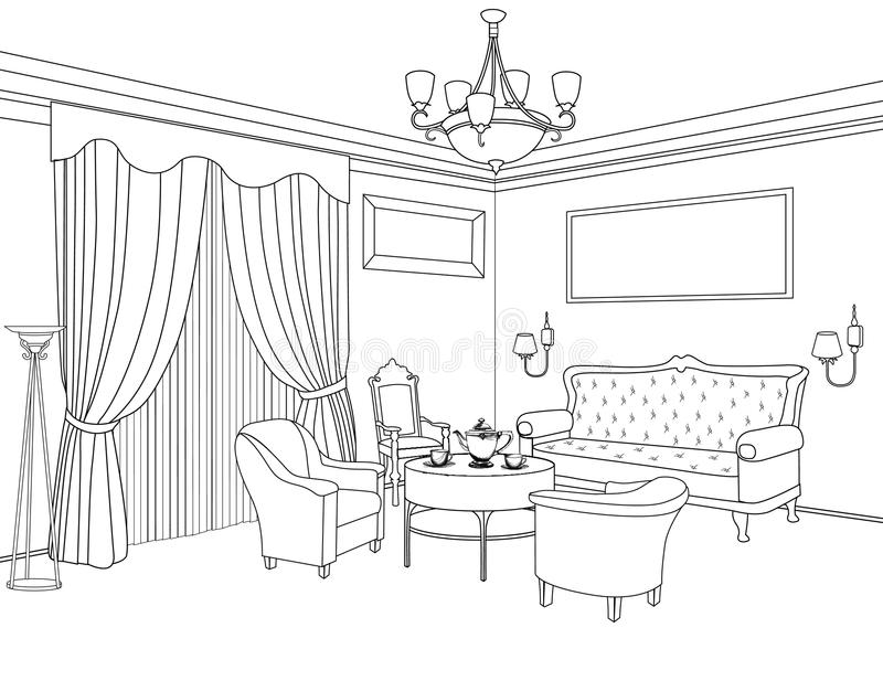 Download Interior Outline Sketch. Furniture. Architectural Design Stock  Illustration   Image: 44107903