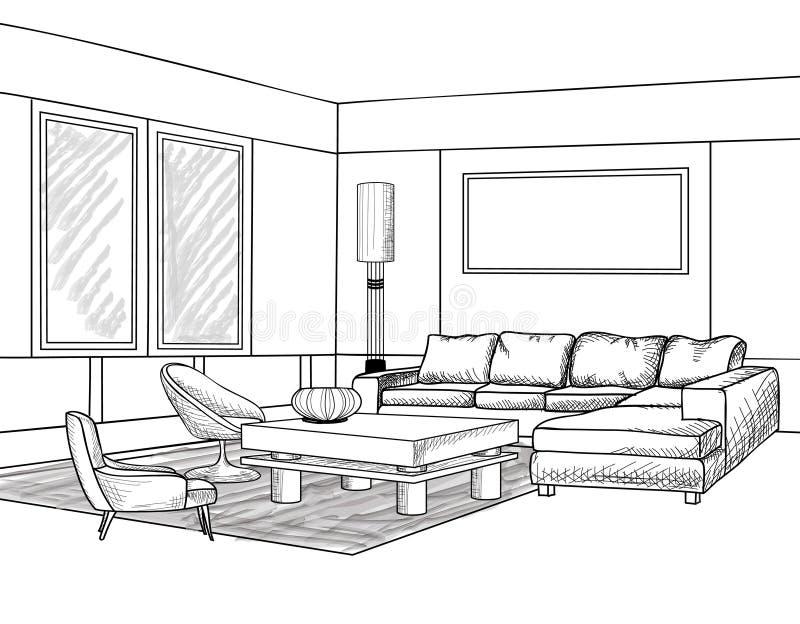 Interior outline sketch furniture blueprint stock illustration download interior outline sketch furniture blueprint stock illustration illustration of design architectural malvernweather Images