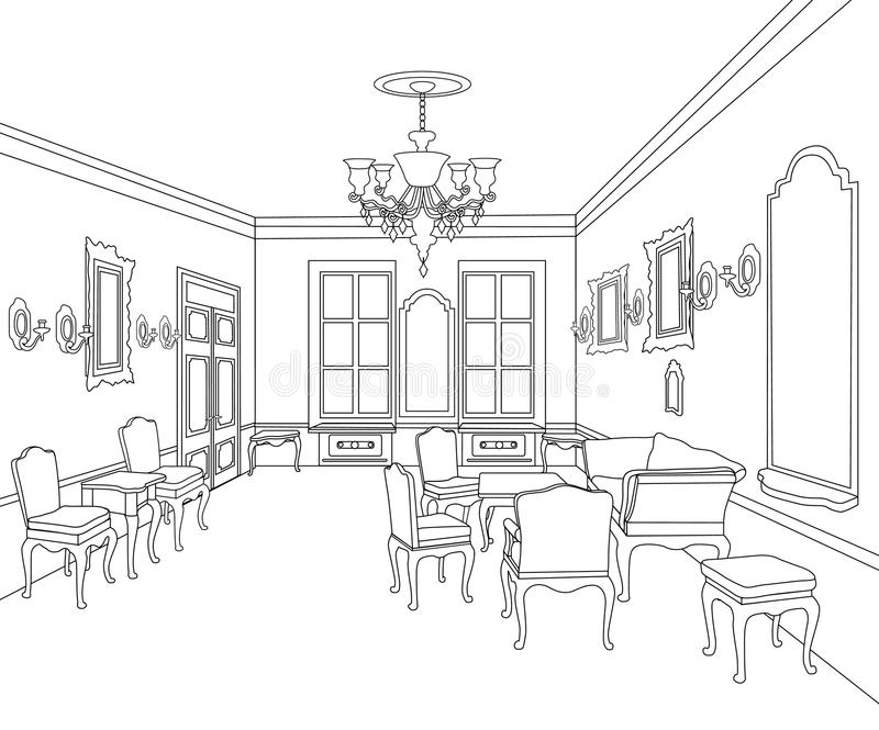 Interior Outline Sketch Furniture Room Blueprint Architectural