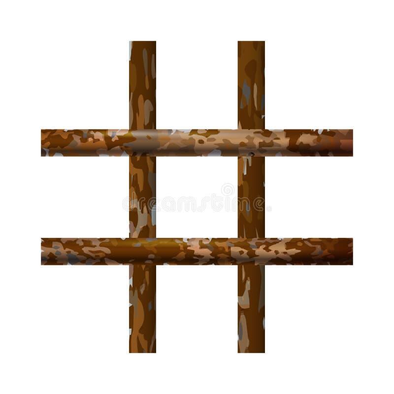 Interior oxidado da prisão de Brown Pilhas de cadeia modernas com barras Estrutura detalhada da ilustra??o do vetor da bandeira P ilustração royalty free