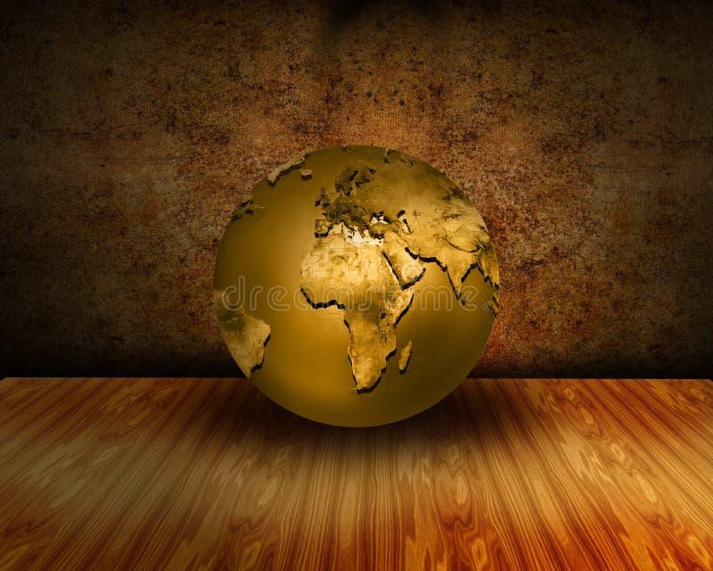 Interior oxidado de Grunge com o globo dourado do mundo foto de stock royalty free