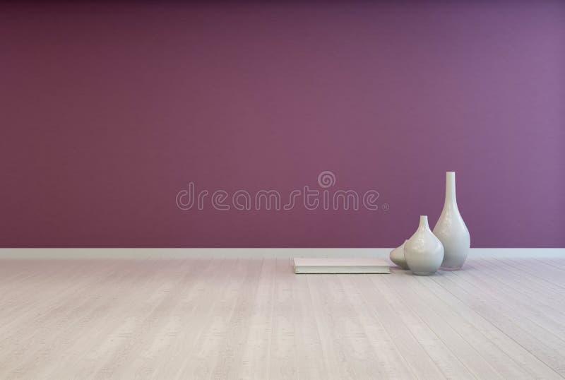 Interior púrpura desnudo colorido de la sala de estar stock de ilustración