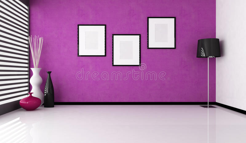 Interior púrpura vacío ilustración del vector