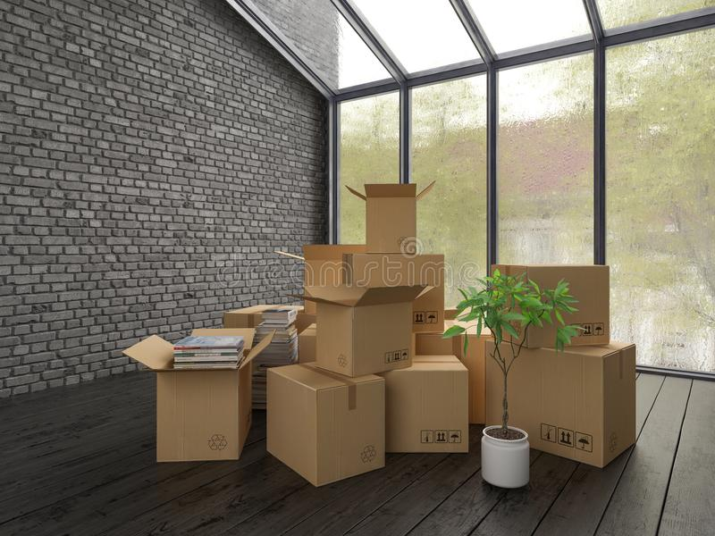 Interior with packed cardboard boxes for relocation 3D rendering. Nterior with packed cardboard boxes for relocation 3 D rendering stock illustration