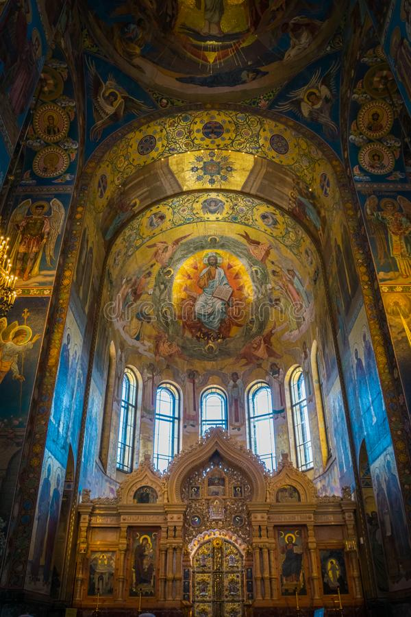 Painting ceiling of Church of the Savior on Spilled Blood in Saint Petersburg, Russia. royalty free stock images