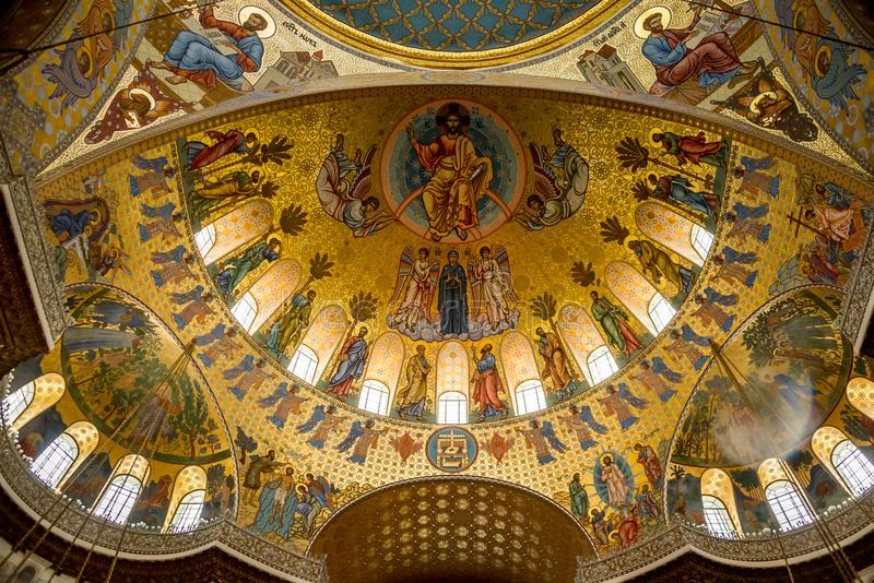 Interior painting on cupola ceiling royalty free stock images