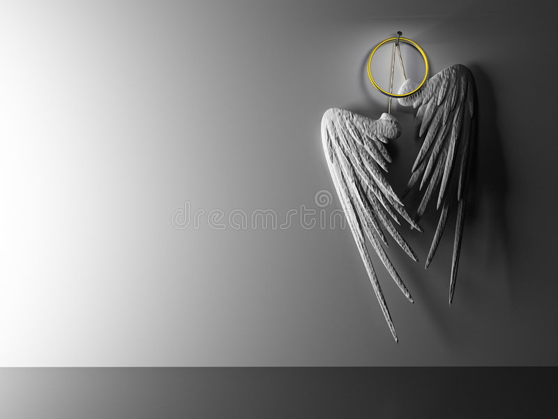Interior pair white wings hinging on wall stock illustration