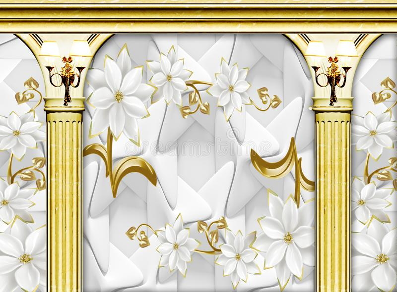 Interior of a palace 3d golden columns and flowers with wall lamp wallpaper background vector illustration