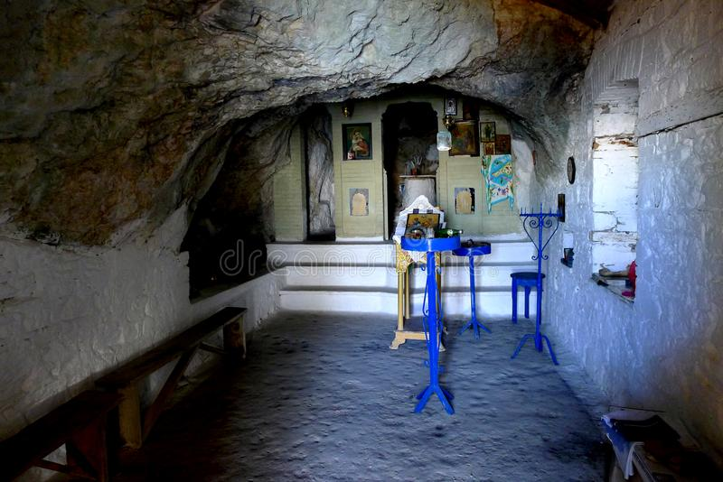 Interior Panagia Makrini `Distant Virgin Mary` church, hidden in a cave of Kerkis mountain, Samos island, Greece. Samos greece island in its blue and warm waters royalty free stock photo