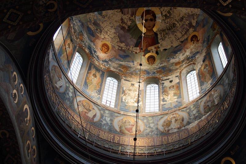 Interior of the Panteleimon Cathedral of the new Athos monastery. Abkhazia stock photo