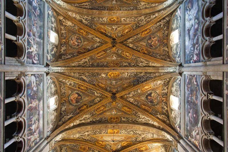 Interior of Parma cathedral. Interior (ceiling) of cathedral in Parma, Emilia-Romagna, Italy, from XIIth century royalty free stock photo
