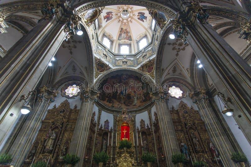Interior of the Parroquia de San Juan Bautista church in Coyoacan, Mexico City - Mexico royalty free stock photos