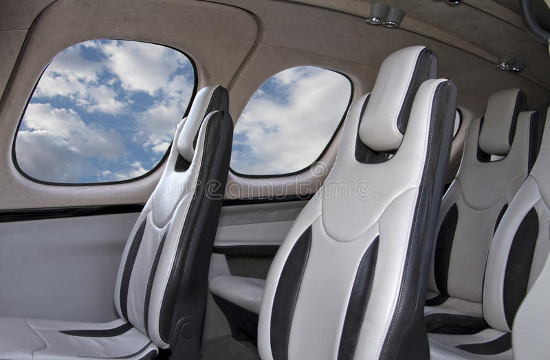 Interior personal de los aviones de jet foto de archivo libre de regalías