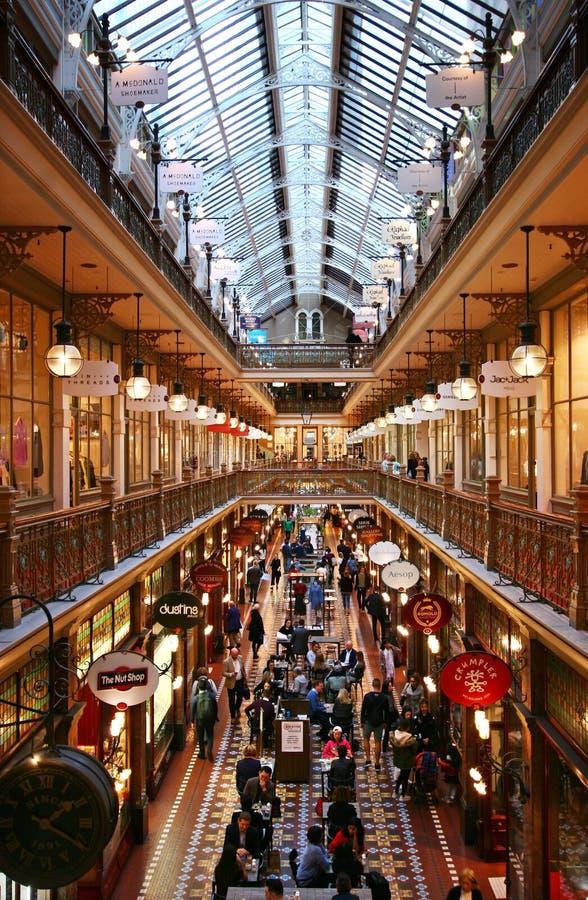 Interior perspective of decorative Victorian shopping mail atrium of historic Strand Arcade in Sydney CBD, Australia royalty free stock photo