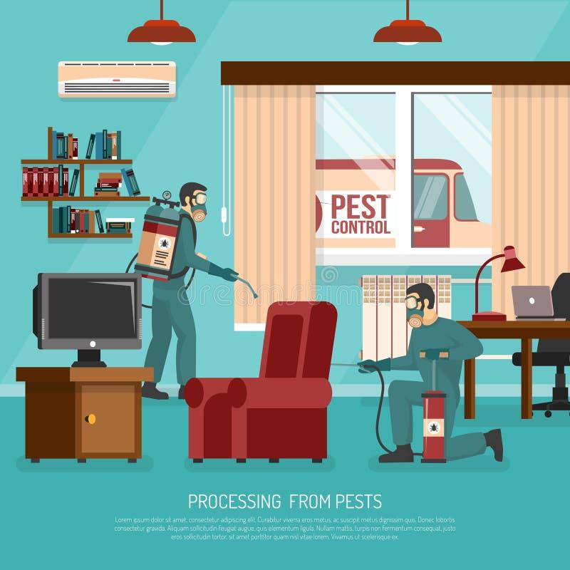 Interior Pest Control Treatment Flat Advertisement Poster royalty free illustration