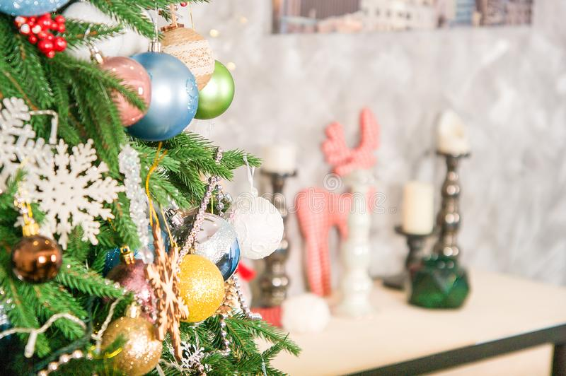 Christmas decor. Large bright living room. Christmas tree stock images