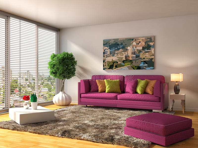 Interior with pink sofa. 3d illustration.  stock illustration