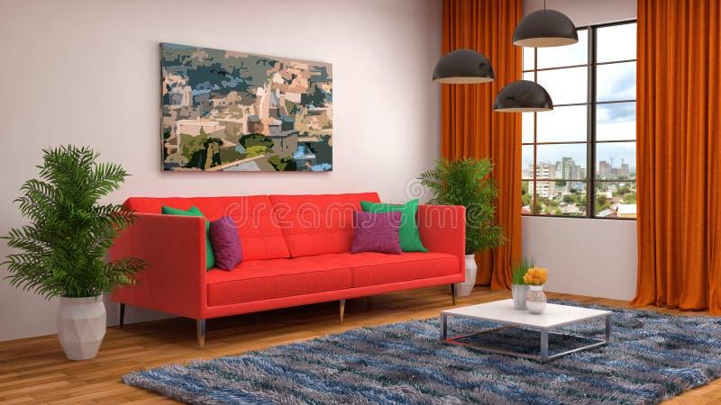 Interior with pink sofa. 3d illustration.  vector illustration