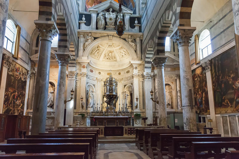 Interior of Pisa Cathedral in the Piazza dei Miracoli royalty free stock photos