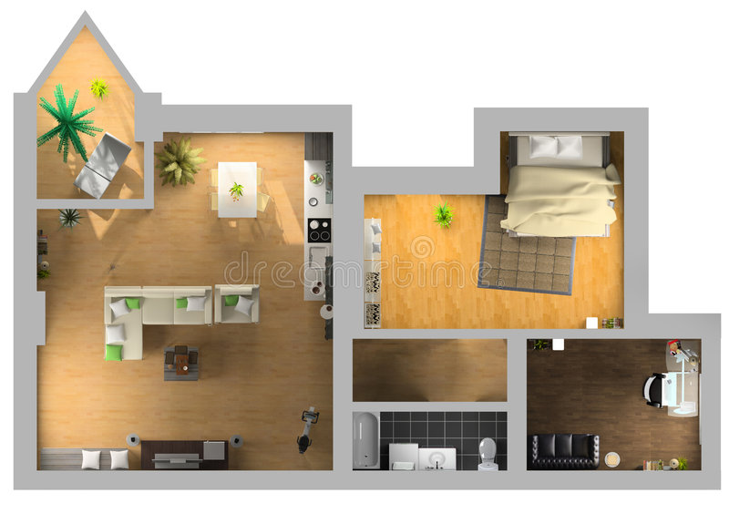 Interior plan. Modern interior on the top view (private apartment 3d rendering